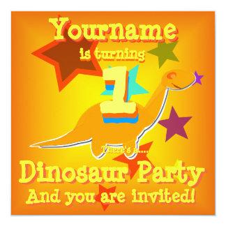 Girando 1 primeiro convite de festas do dinossauro convite quadrado 13.35 x 13.35cm