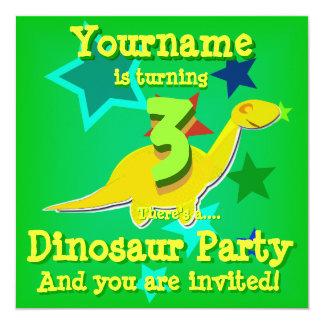 Girando 3 convites de festas do dinossauro do
