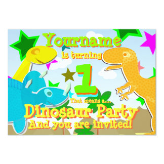 Girar 1 festa de aniversário do dinossauro convida convite 12.7 x 17.78cm