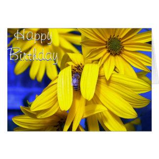 Girassóis amarelos, abelha azul - cartão de