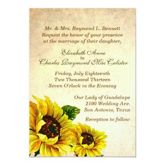 Girassóis antigos do olhar que Wedding o convite