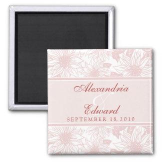 Girassóis cor-de-rosa macios que Wedding o present Ímã Quadrado