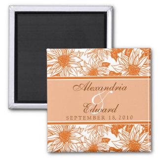 Girassóis da tangerina que Wedding o presente do í Ímã Quadrado