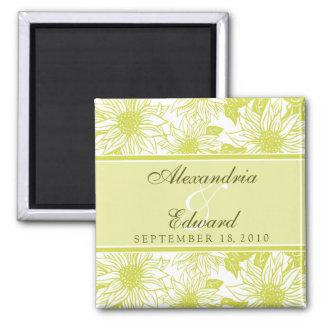 Girassóis da verde azeitona que Wedding o presente Ímã Quadrado