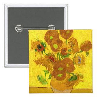 Girassóis de Van Gogh quinze em umas belas artes Bóton Quadrado 5.08cm