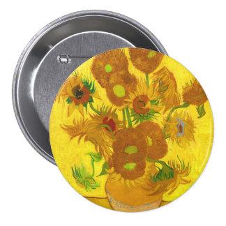 Girassóis de Van Gogh quinze em umas belas artes Bóton Redondo 7.62cm