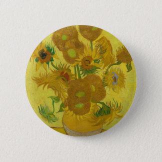 Girassóis de Vincent van Gogh - arte clássica Bóton Redondo 5.08cm