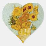 Girassóis de Vincent van Gogh Adesivos Em Forma De Corações