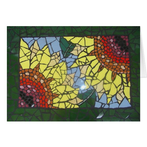 Girassóis do mosaico cartoes