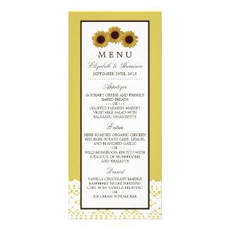 Girassóis e menu do casamento do laço do vintage