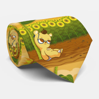 Girassóis ensolarados bonitos e urso dos desenhos gravata