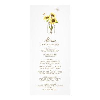 Girassóis no cartão floral do menu do casamento do