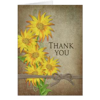 Girassóis - obrigado - textura de Brown Cartão De Nota