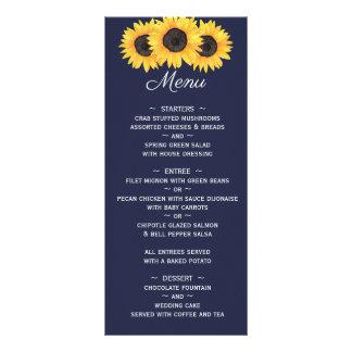 Girassóis que Wedding o menu no país azul floral