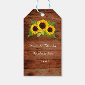 Girassóis rústicos da samambaia que Wedding o Tag Etiqueta Para Presente