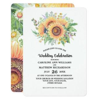 Girassóis rústicos do país que Wedding convites