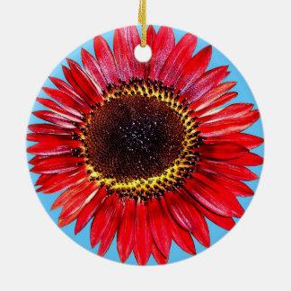 Girassol abstrato bonito da beleza do outono no ornamento de cerâmica redondo