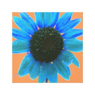 Girassol abstrato do azul com fundo do pêssego impressão em canvas