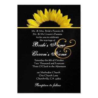 Girassol amarelo e preto que Wedding o papel Convite 12.7 X 17.78cm