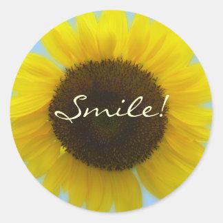 Girassol brilhante e alegre da foto da flora - adesivo