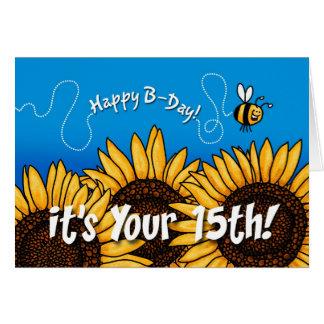 girassol da fuga da abelha - 15 anos velho cartão