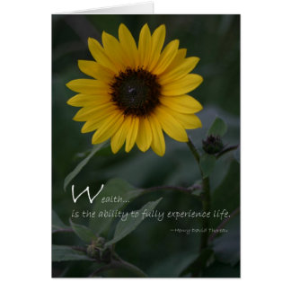 Girassol do amarelo das citações da riqueza cartão comemorativo