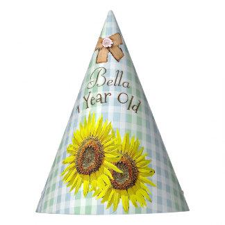 Girassol do amarelo do verde do chapéu da festa de