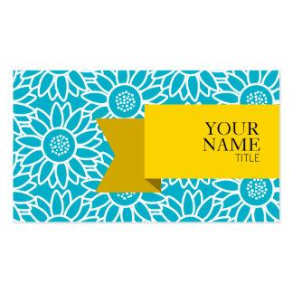 Girassol dourado do azul do mergulhador da fita cartão de visita