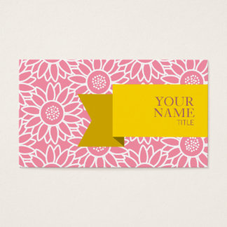 Girassol dourado do sorvete do rosa da fita cartão de visitas
