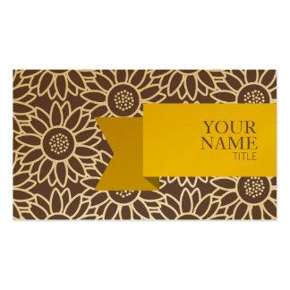 Girassol médio do Taupe da fita dourada Cartão De Visita