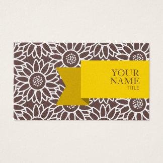 Girassol médio do Taupe da fita dourada Cartão De Visitas