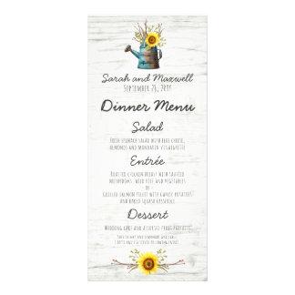 Girassol & menu de madeira rústico do comensal de