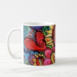 Girassol no vaso cor-de-rosa caneca de café