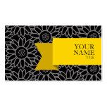 Girassol preto e Titanium da fita dourada Cartão De Visita