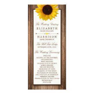 Girassol rústico do país & casamento de madeira de 10.16 x 22.86cm panfleto