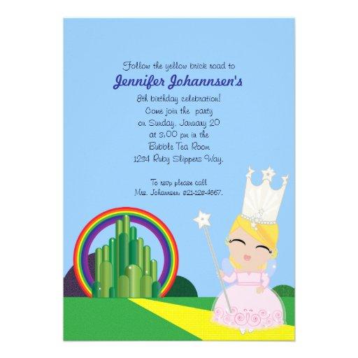 Glinda do convite de aniversário da onça