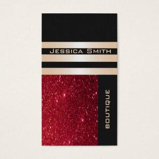 Glittery vermelho contemporâneo luxuoso chique cartão de visitas