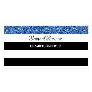 Glitz azul do brilho das listras preto e branco cartão de visita