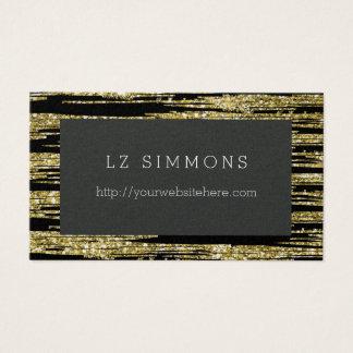 Glitz chique do ouro com preto cartão de visitas