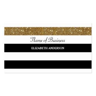 Glitz preto e branco moderno do brilho do ouro das cartão de visita