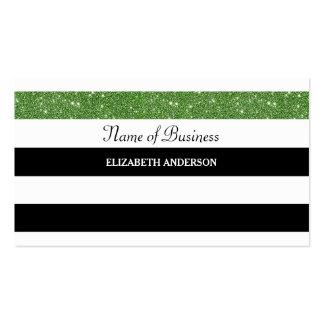 Glitz preto e branco moderno do brilho do verde cartão de visita