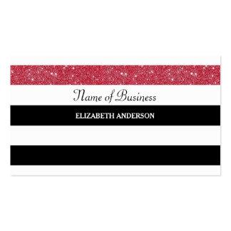 Glitz vermelho do brilho das listras preto e cartão de visita
