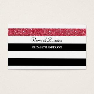 Glitz vermelho do FALSO das listras preto e branco Cartão De Visitas