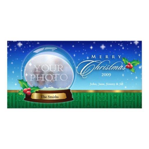 Globo 8 customizáveis da neve do Feliz Natal Cartoes Com Foto
