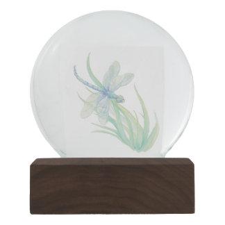 Globo De Neve Arte da libélula da aguarela no azul & no verde