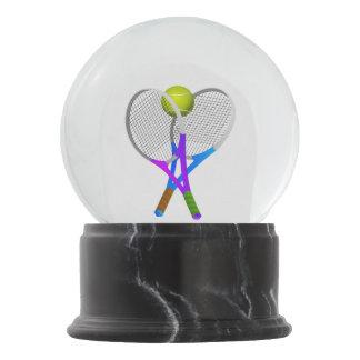 Globo De Neve Bola e raquetes de tênis