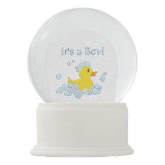 Globo De Neve É um azul do chá de fraldas da bolha do menino