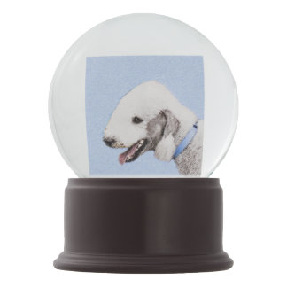 Globo De Neve Pintura de Bedlington Terrier - arte original do