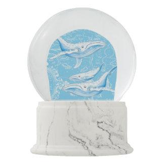 Globo De Neve Vintage da família das baleias azuis