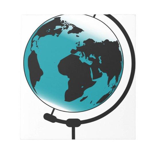 Globo montado no giro de giro bloco de anotação